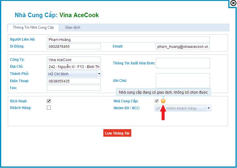 Hướng dẫn Chỉnh sửa/Xóa Nhà Cung Cấp Phần mềm quản lý bán hàng online s3