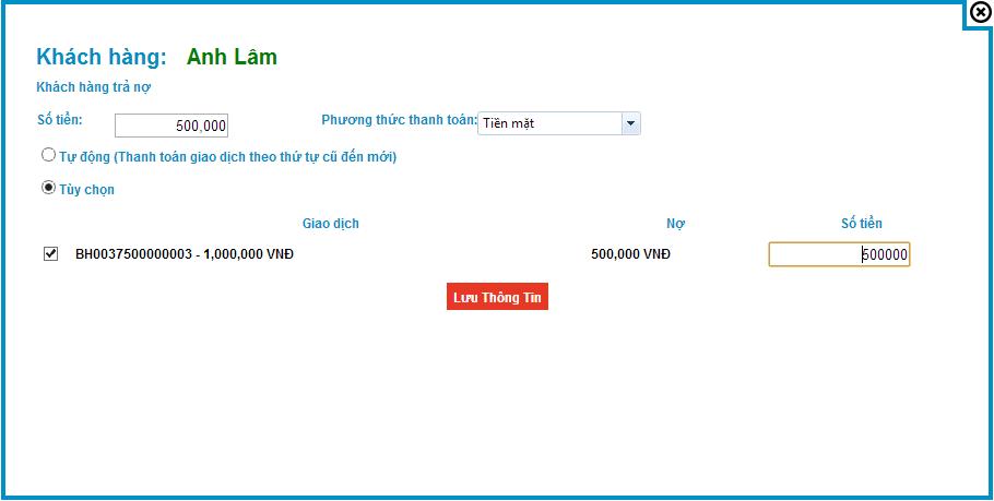 Hướng dẫn quyết toán nợ cho Khách hàng - Phần mềm quản lý bán hàng online S3